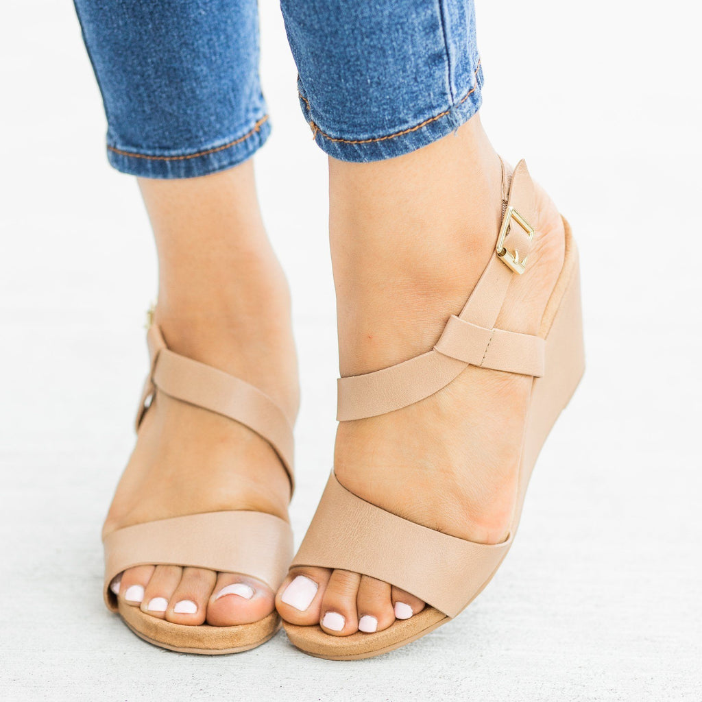 Womens Asymmetrical Fashion Wedges - Qupid Shoes - Dark Blush / 5