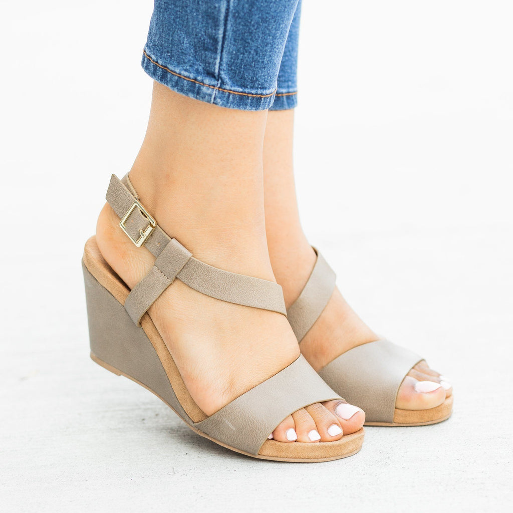 Womens Asymmetrical Fashion Wedges - Qupid Shoes - Taupe / 5
