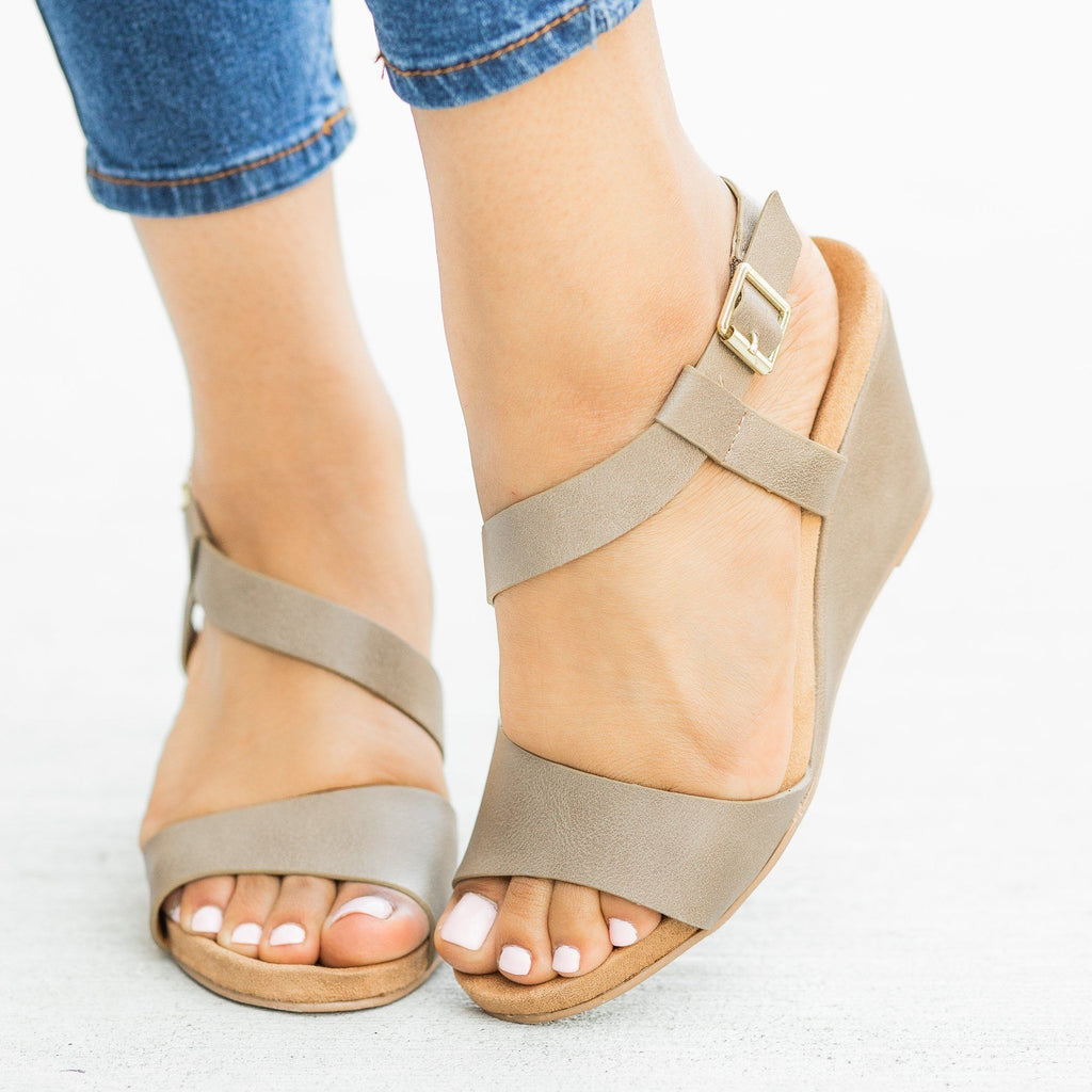 Womens Asymmetrical Fashion Wedges - Qupid Shoes