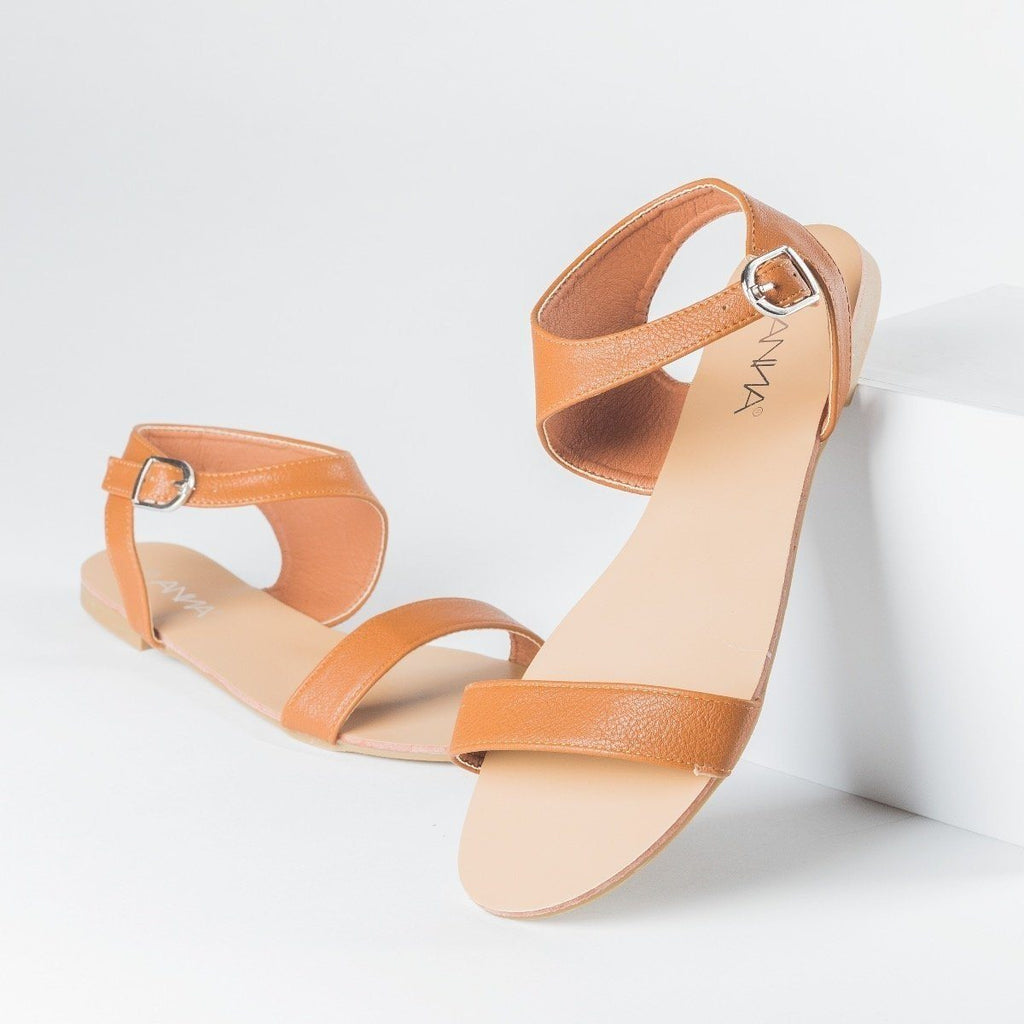 Womens Asymmetrical Open Toe Sandals - Anna Shoes - Tan / 5