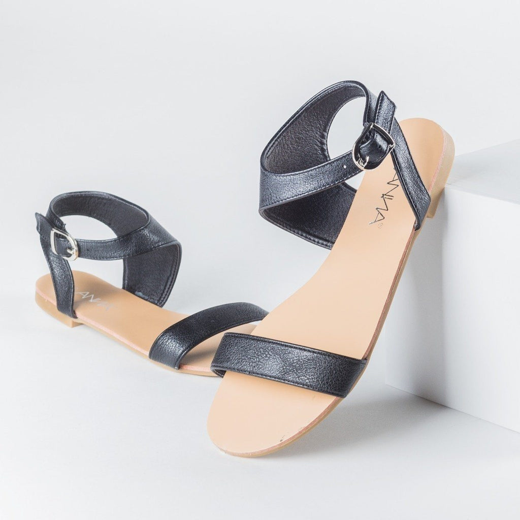 Womens Asymmetrical Open Toe Sandals - Anna Shoes - Black / 5