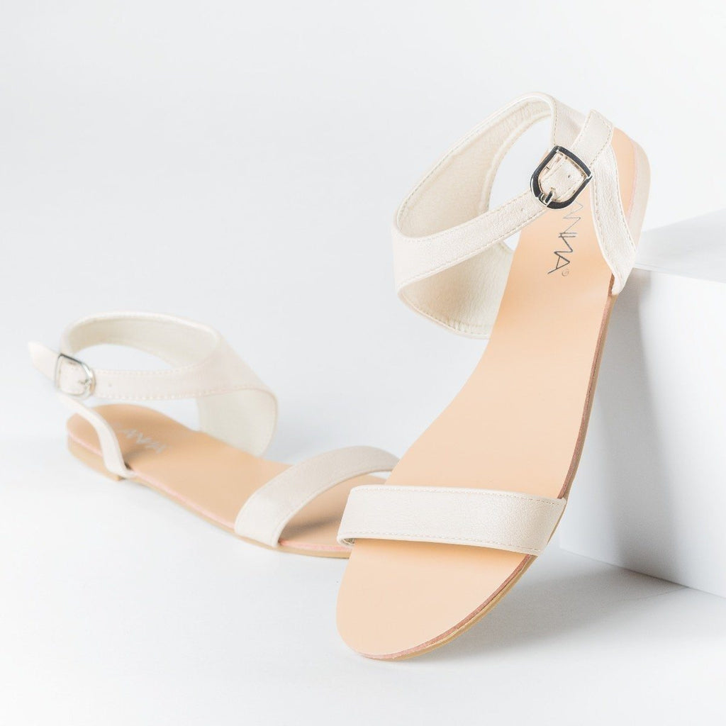 Womens Asymmetrical Open Toe Sandals - Anna Shoes - Beige / 5