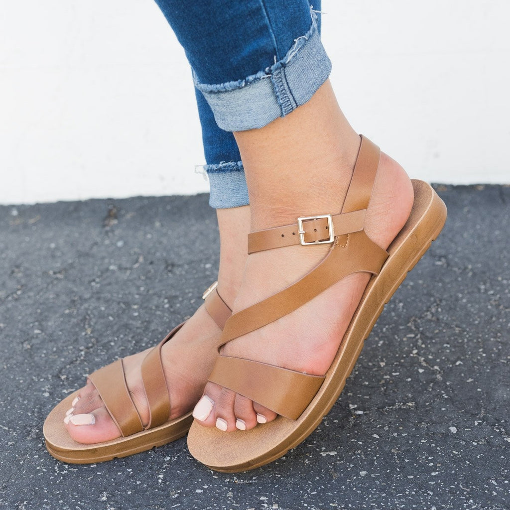 Women's Asymmetrical Slingback Sandals - Refresh - Tan / 5