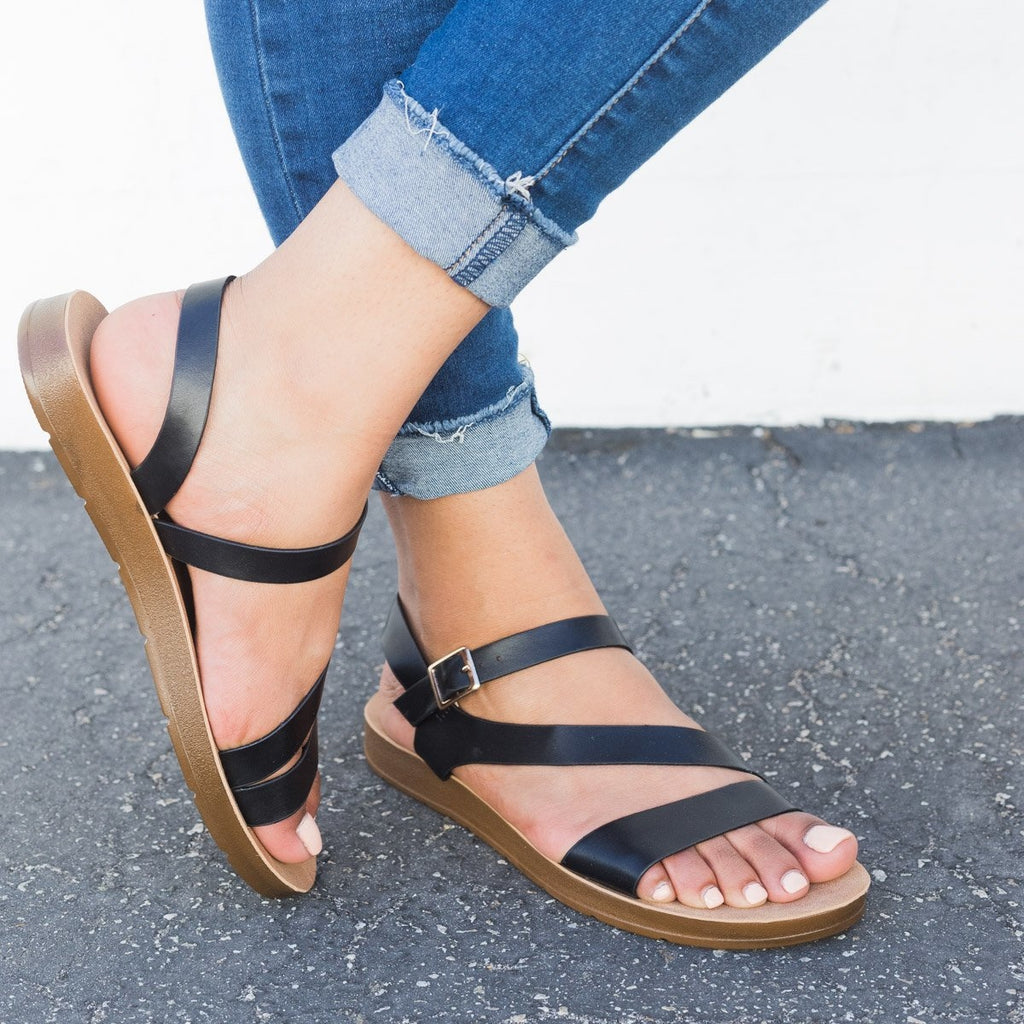 Women's Asymmetrical Slingback Sandals - Refresh - Black / 5