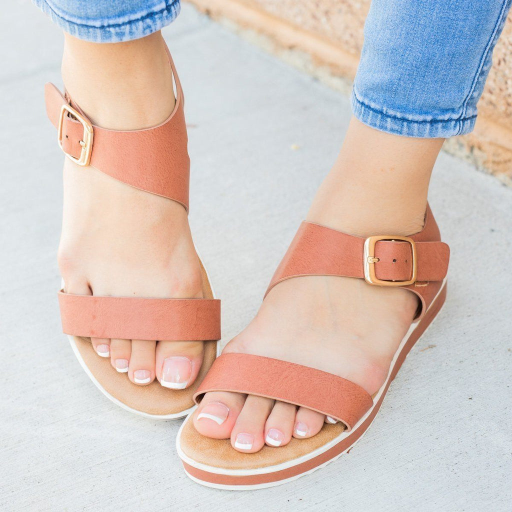 Womens Asymmetrical Sporty Sandals - Bamboo Shoes - Mocha / 5