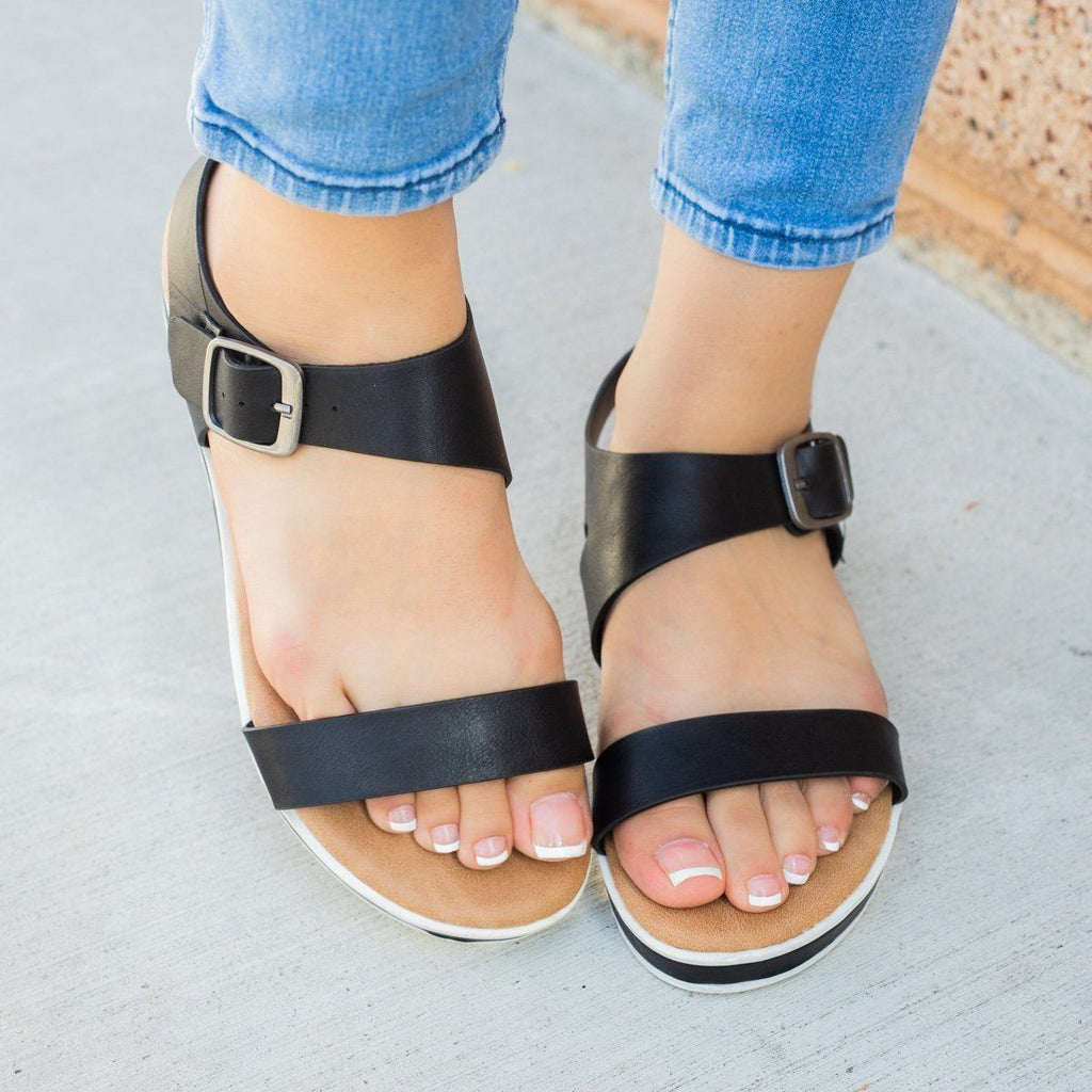 Womens Asymmetrical Sporty Sandals - Bamboo Shoes - Black / 5