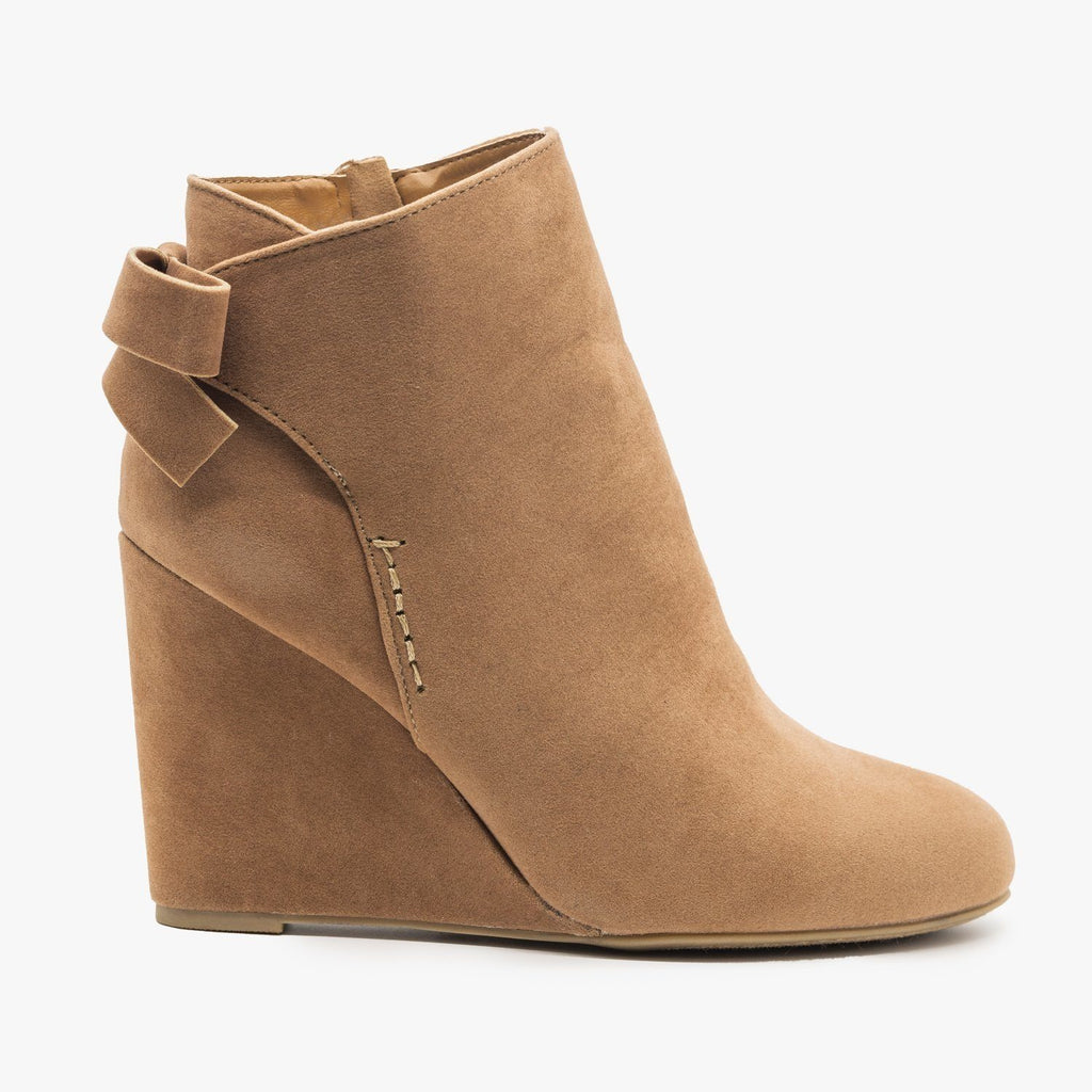 Womens Back Bow Bootie Wedges - Bamboo Shoes - Camel / 5