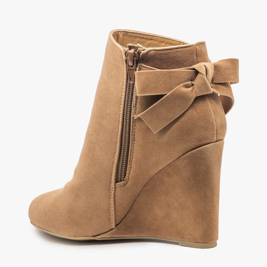 Womens Back Bow Bootie Wedges - Bamboo Shoes