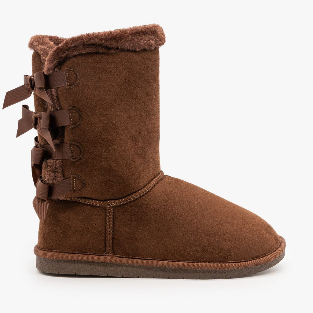 Womens Back Bow Comfort Boots - Forever - Brown / 5