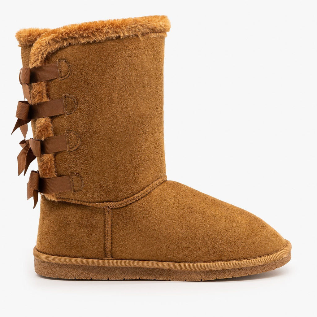 Womens Back Bow Comfort Boots - Forever - Tan / 5