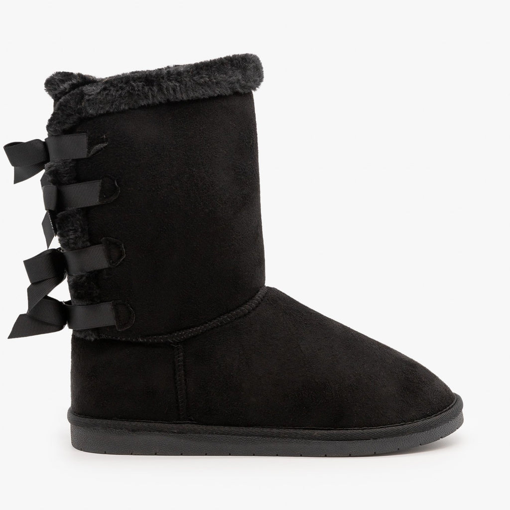 Womens Back Bow Comfort Boots - Forever - Black / 5