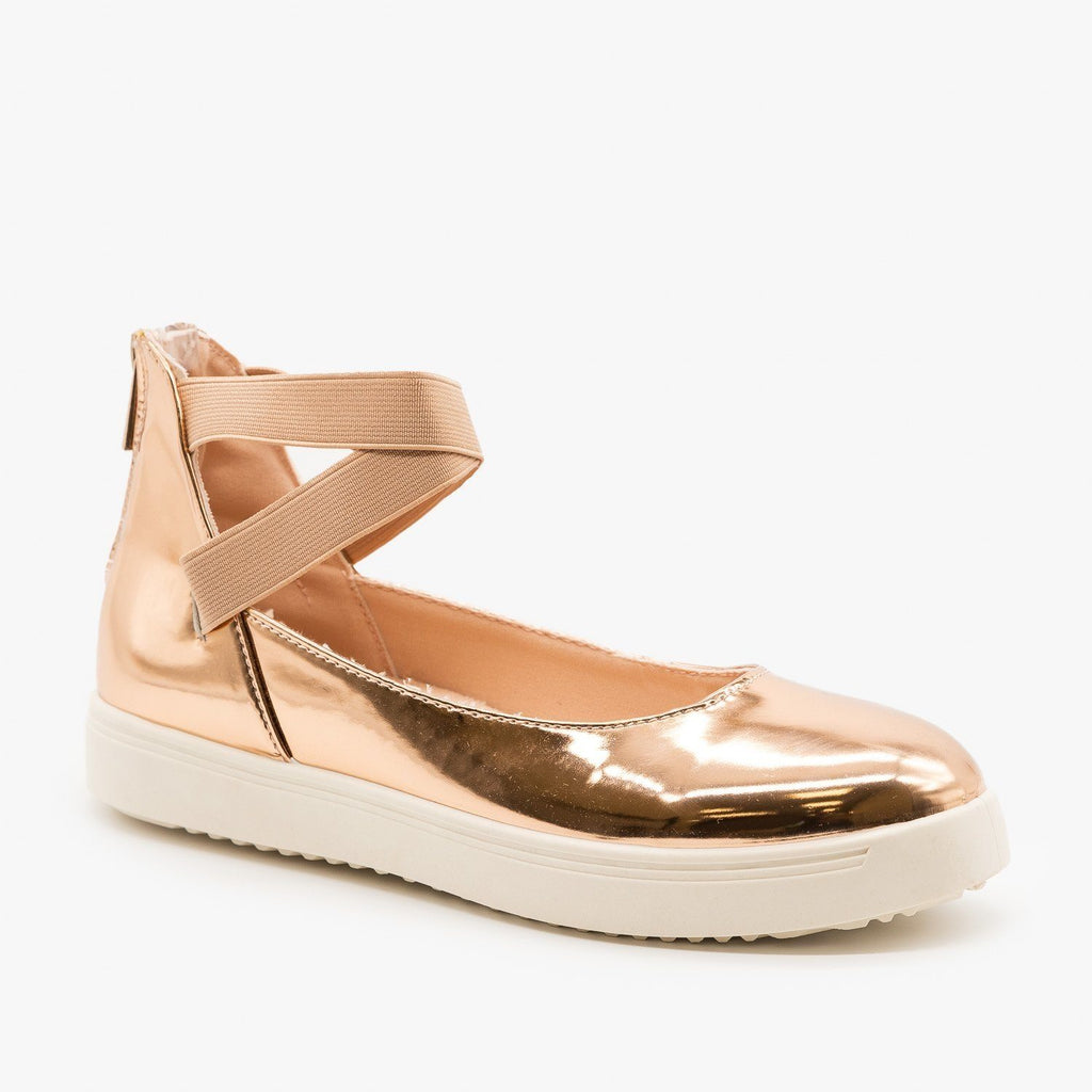 Womens Ballerina-Inspired Sneakers - Bamboo Shoes - Rose Gold / 5