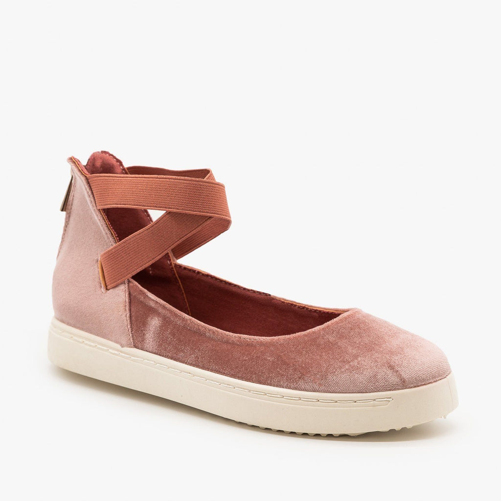 Womens Ballerina-Inspired Sneakers - Bamboo Shoes - Mauve / 5