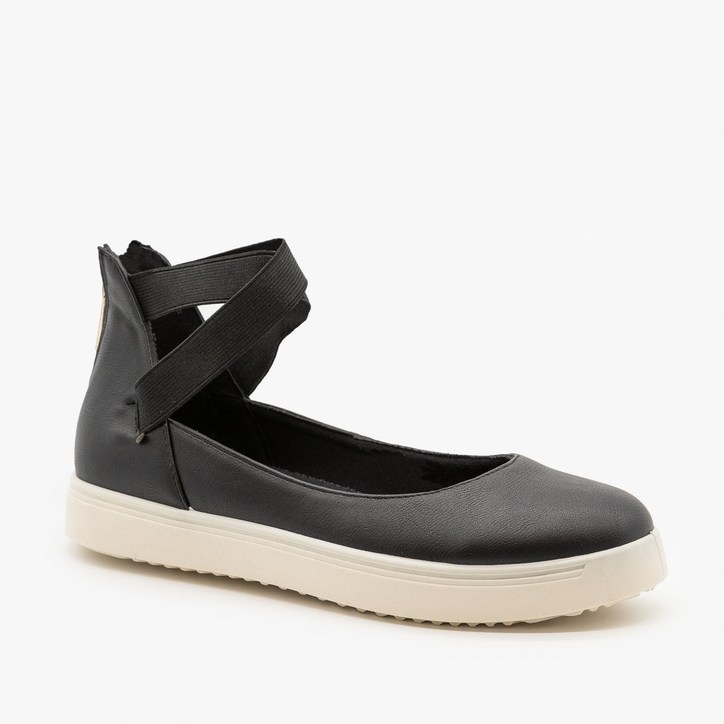 Womens Ballerina-Inspired Sneakers - Bamboo Shoes - Black / 5