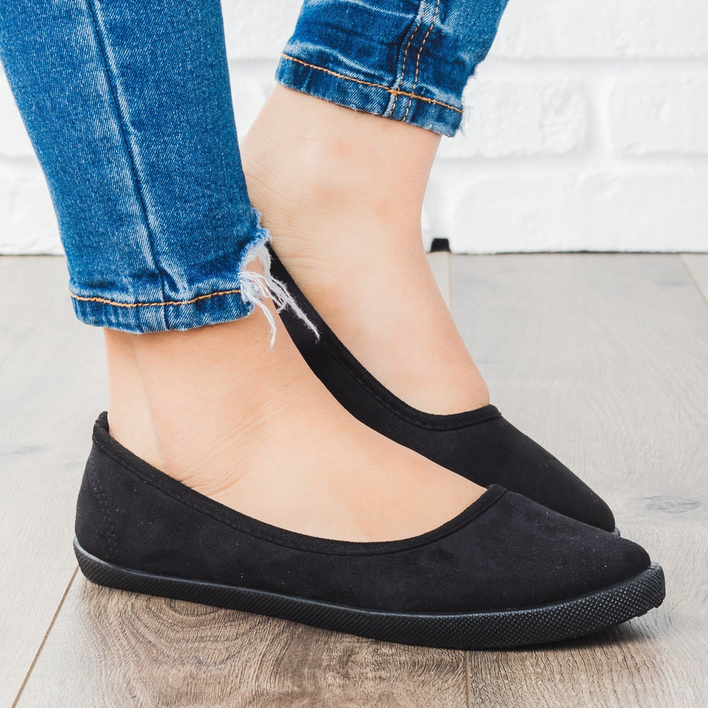 Womens Ballet Flat Sneakers - Refresh - Black / 5
