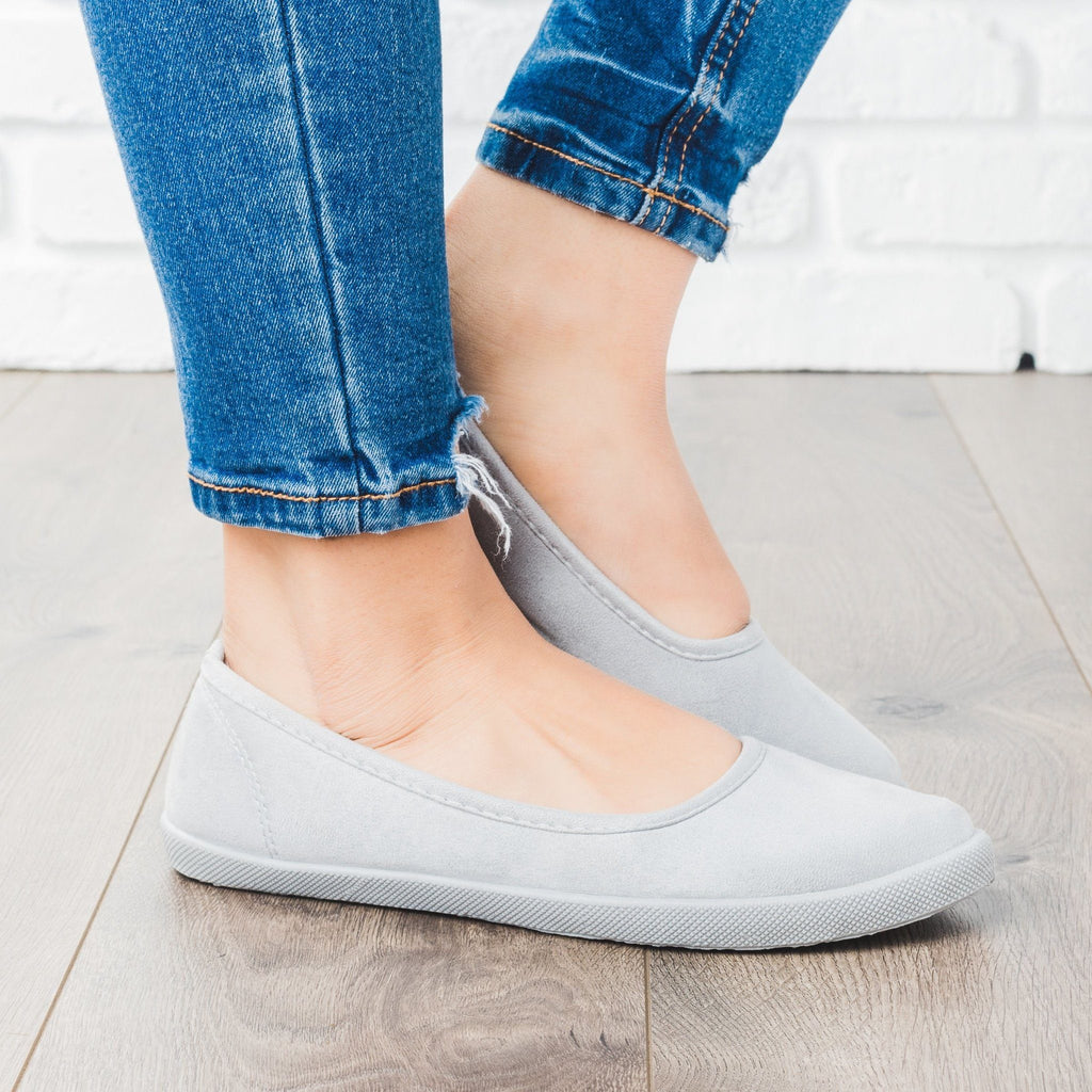 Womens Ballet Flat Sneakers - Refresh - All Gray / 5