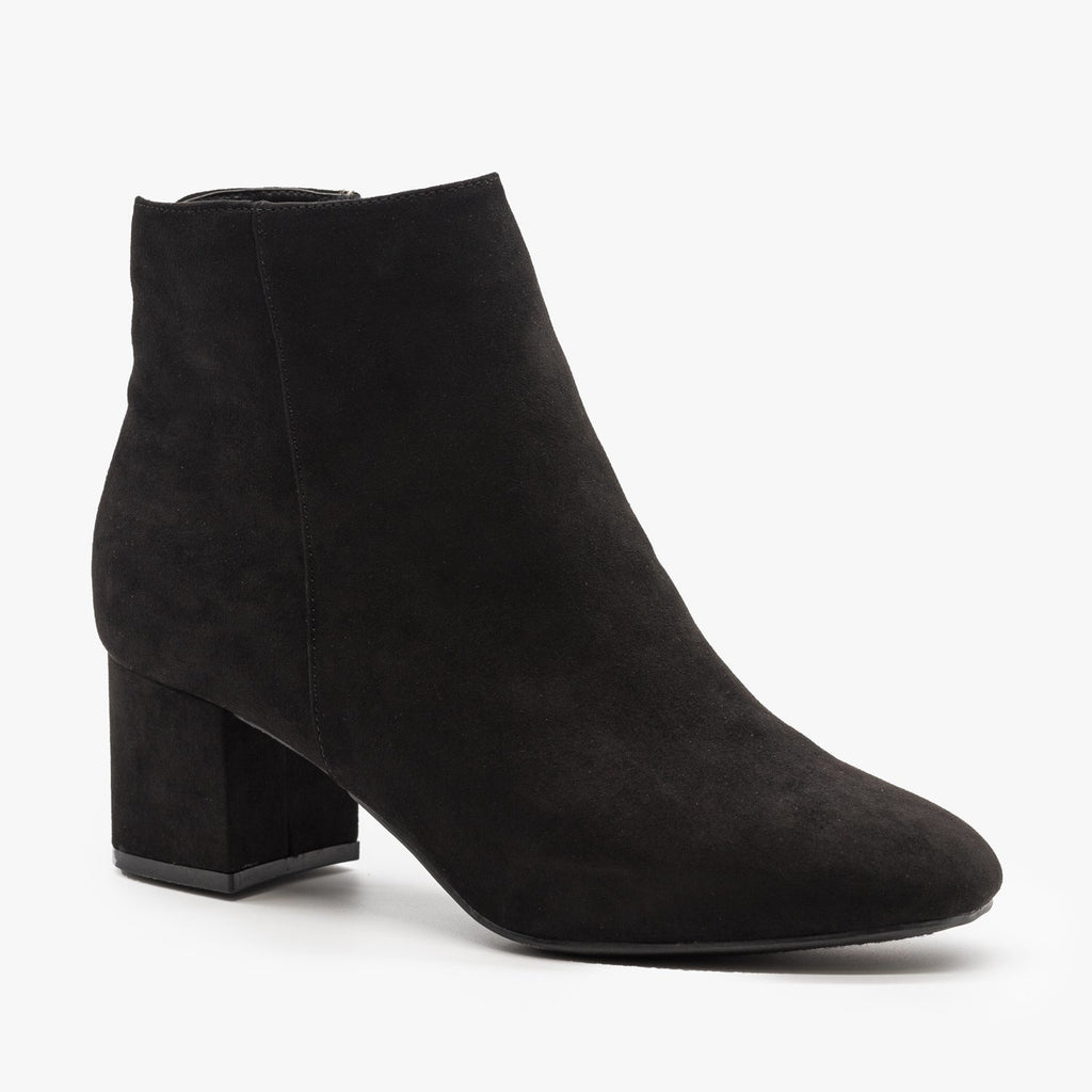 Womens Basic Ankle Booties - Bamboo Shoes - Black / 5