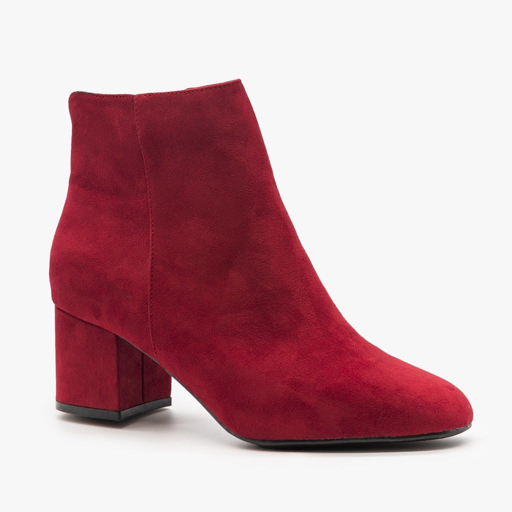 Womens Basic Ankle Booties - Bamboo Shoes - Burgundy / 5