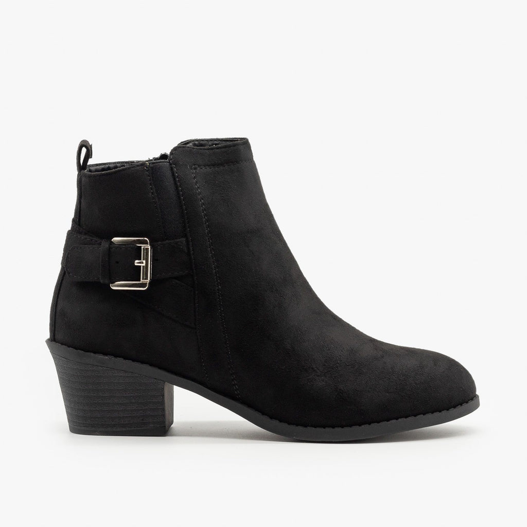 Womens Basic Buckled Fall Booties - Forever - Black / 5