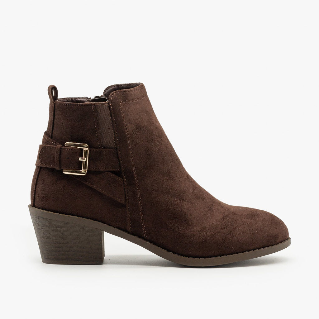 Womens Basic Buckled Fall Booties - Forever - Brown / 5