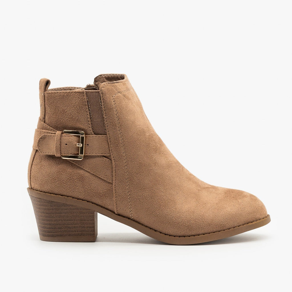 Womens Basic Buckled Fall Booties - Forever - Taupe / 5