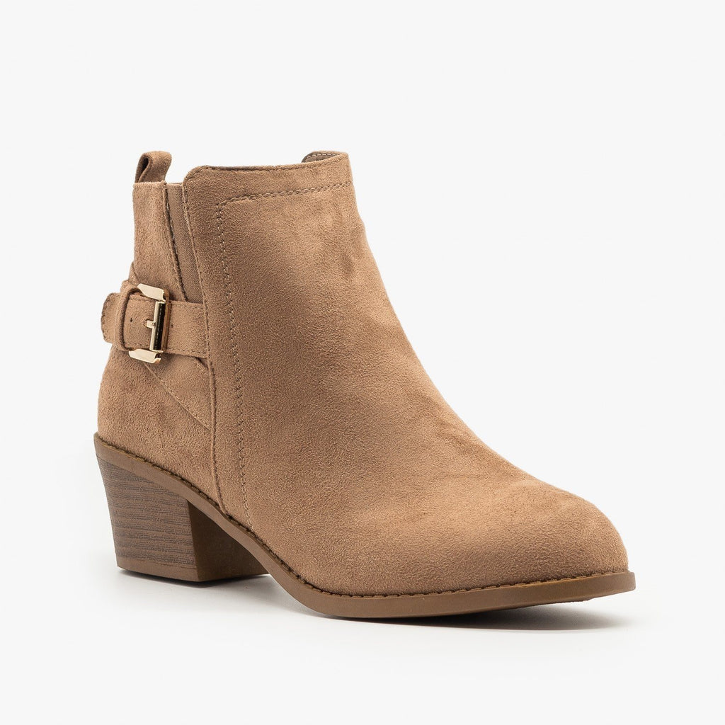 Womens Basic Buckled Fall Booties - Forever