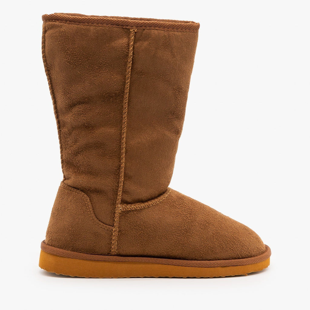 Womens Basic Comfort Boots - Soda Shoes - Dark Camel / 5