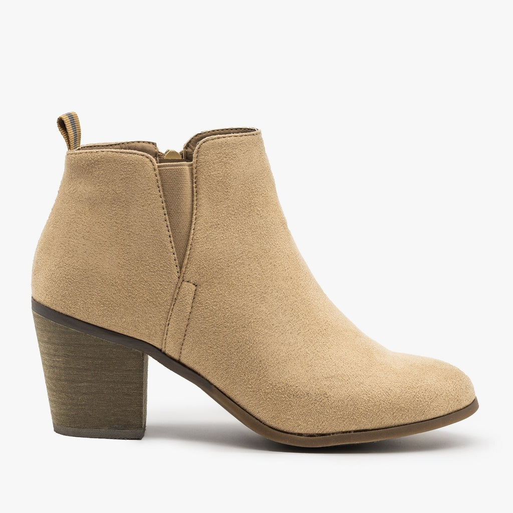 Womens Basic Faux Suede Booties - Shoetopia - Taupe / 5