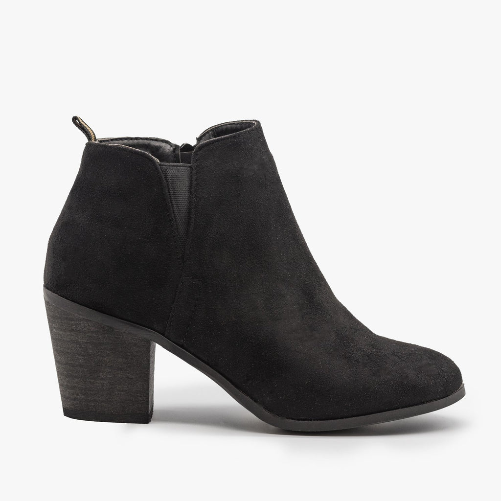 Womens Basic Faux Suede Booties - Shoetopia - Black / 5