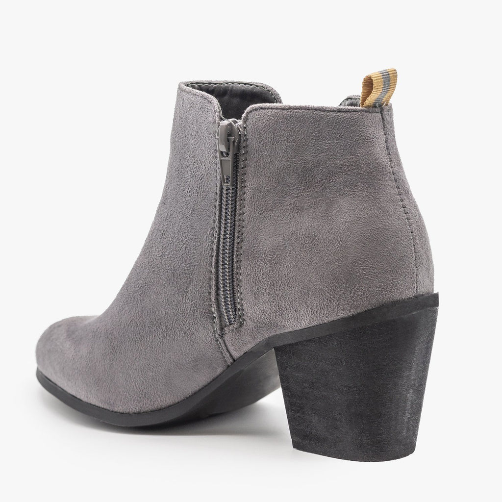 Womens Basic Faux Suede Booties - Shoetopia