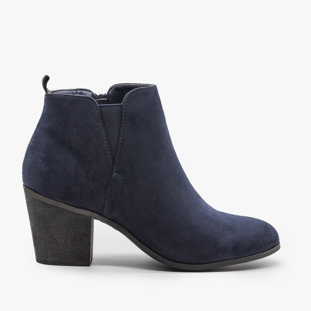 Womens Basic Faux Suede Booties - Shoetopia - Navy / 5