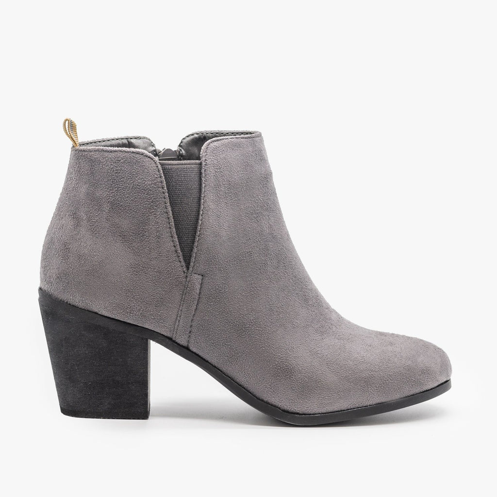 Womens Basic Faux Suede Booties - Shoetopia - Grey / 5