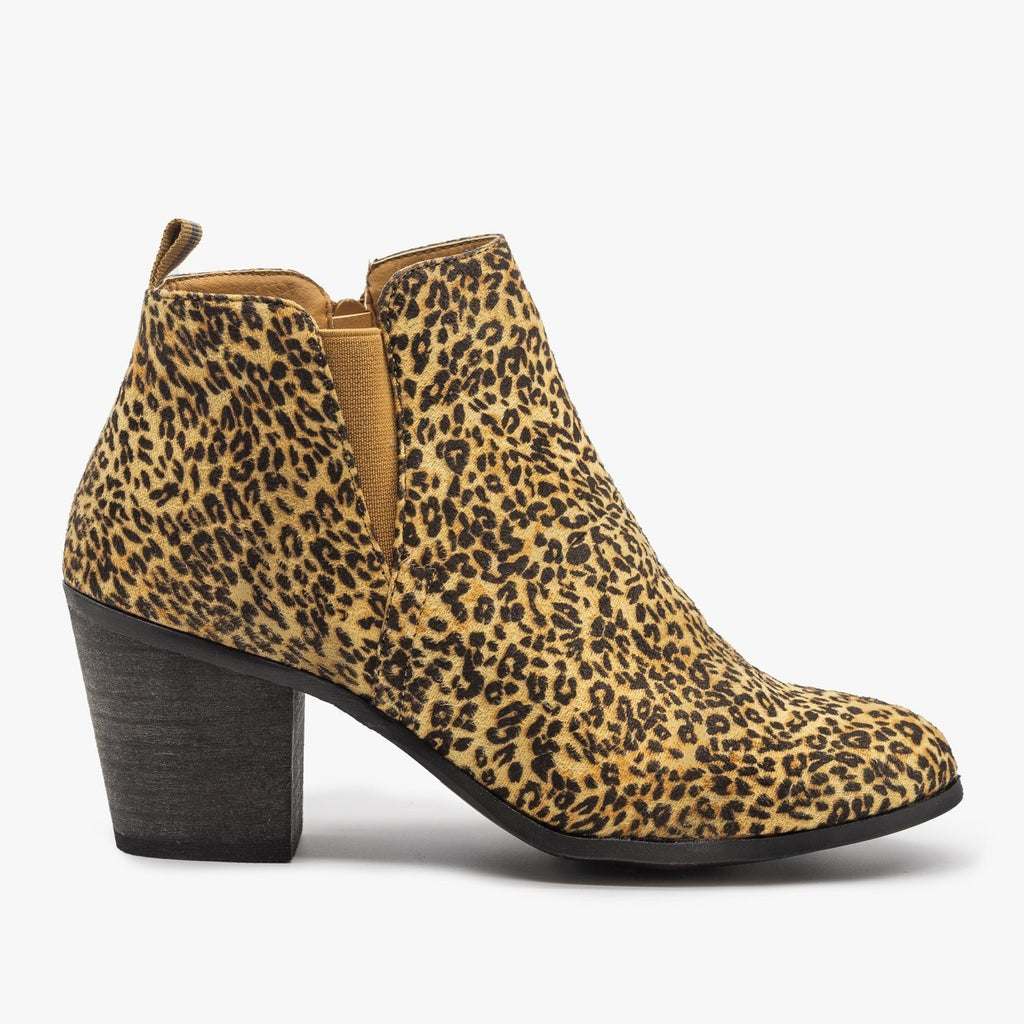 Womens Basic Faux Suede Booties - Shoetopia - Leopard / 5