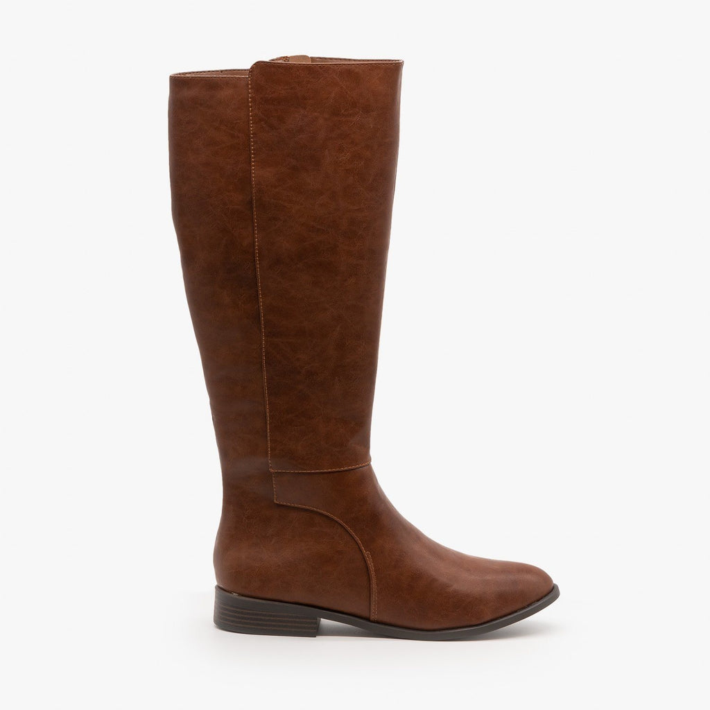 Womens Basic Riding Boots - City Classified Shoes - Dark Tan / 5