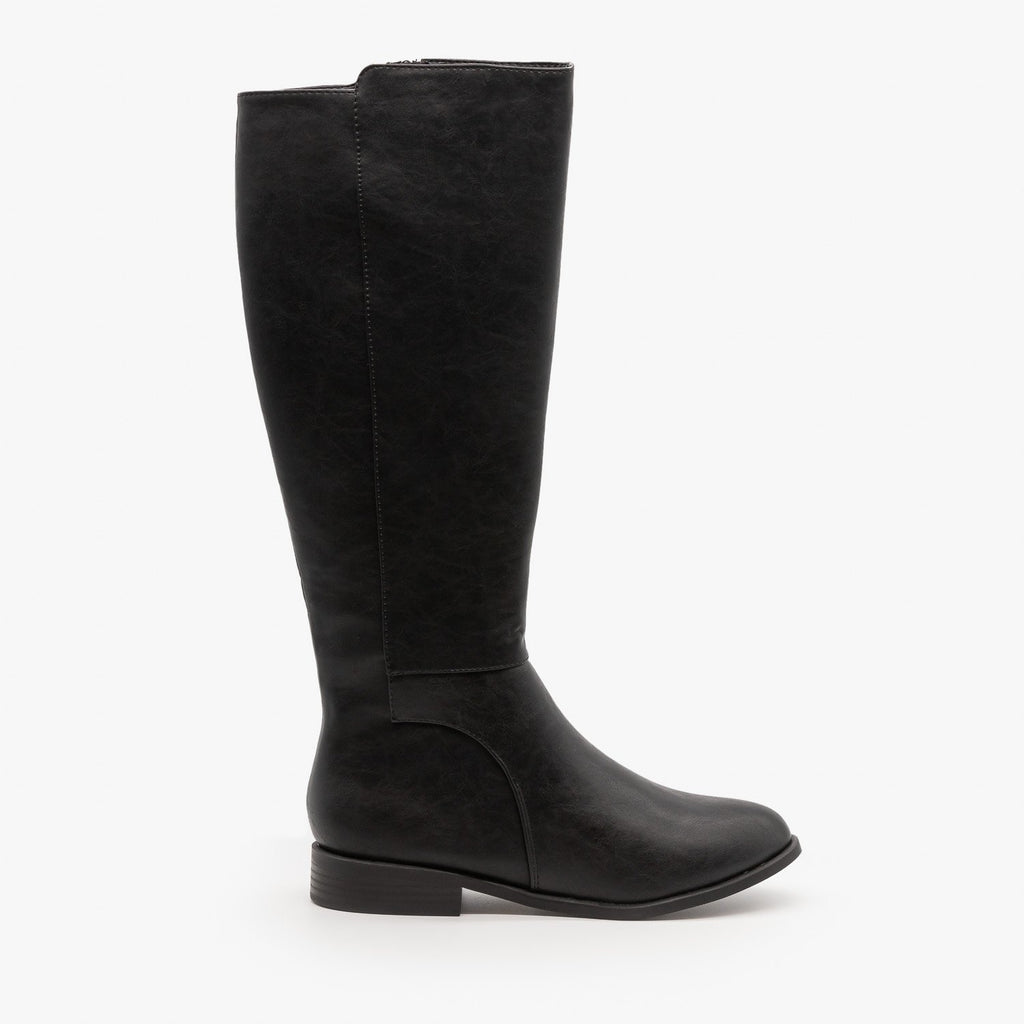 Womens Basic Riding Boots - City Classified Shoes - Black / 5