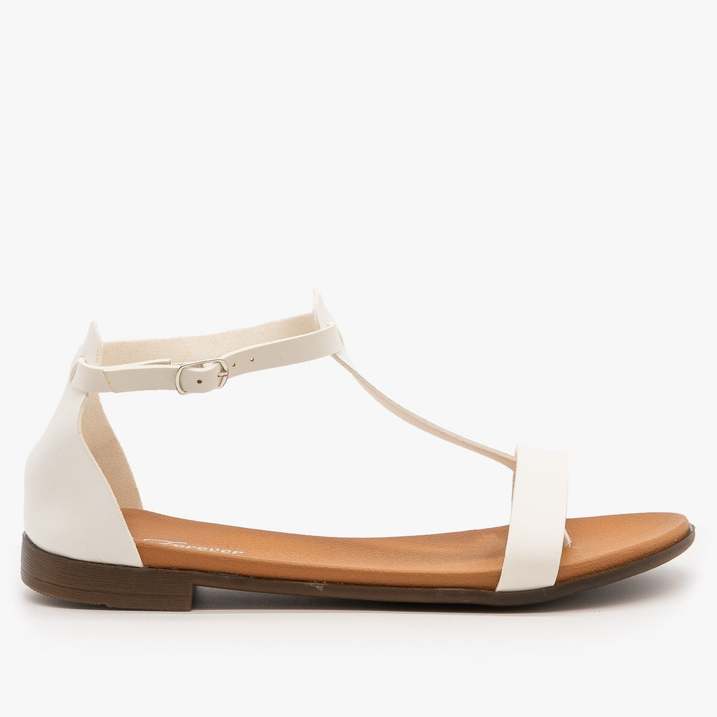 Womens Basic T-Strap Sandals - Forever - White / 5