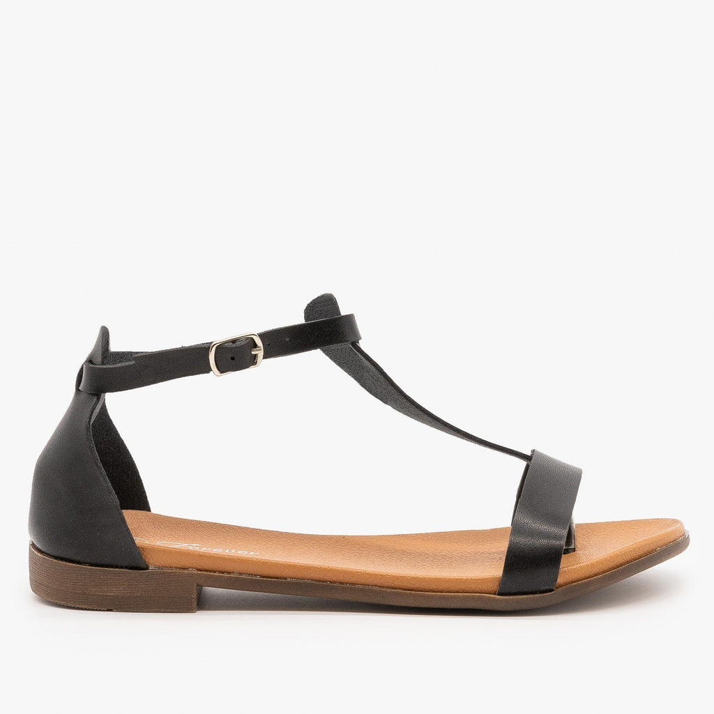 Womens Basic T-Strap Sandals - Forever - Black / 5