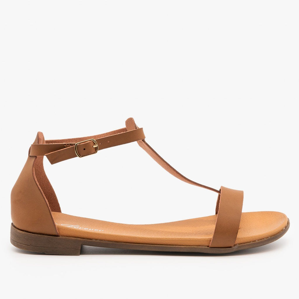 Womens Basic T-Strap Sandals - Forever - Tan / 5