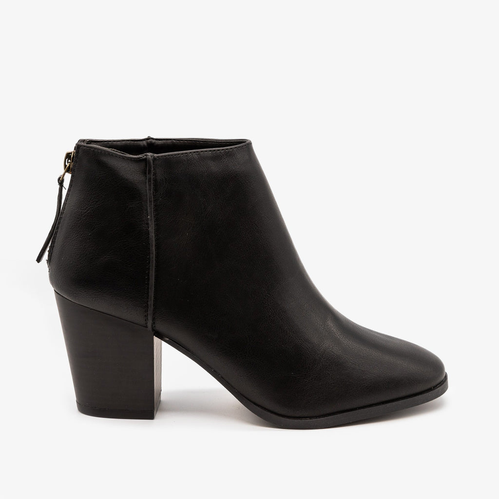 Womens Basic Zippered Booties - Qupid Shoes - Black / 5
