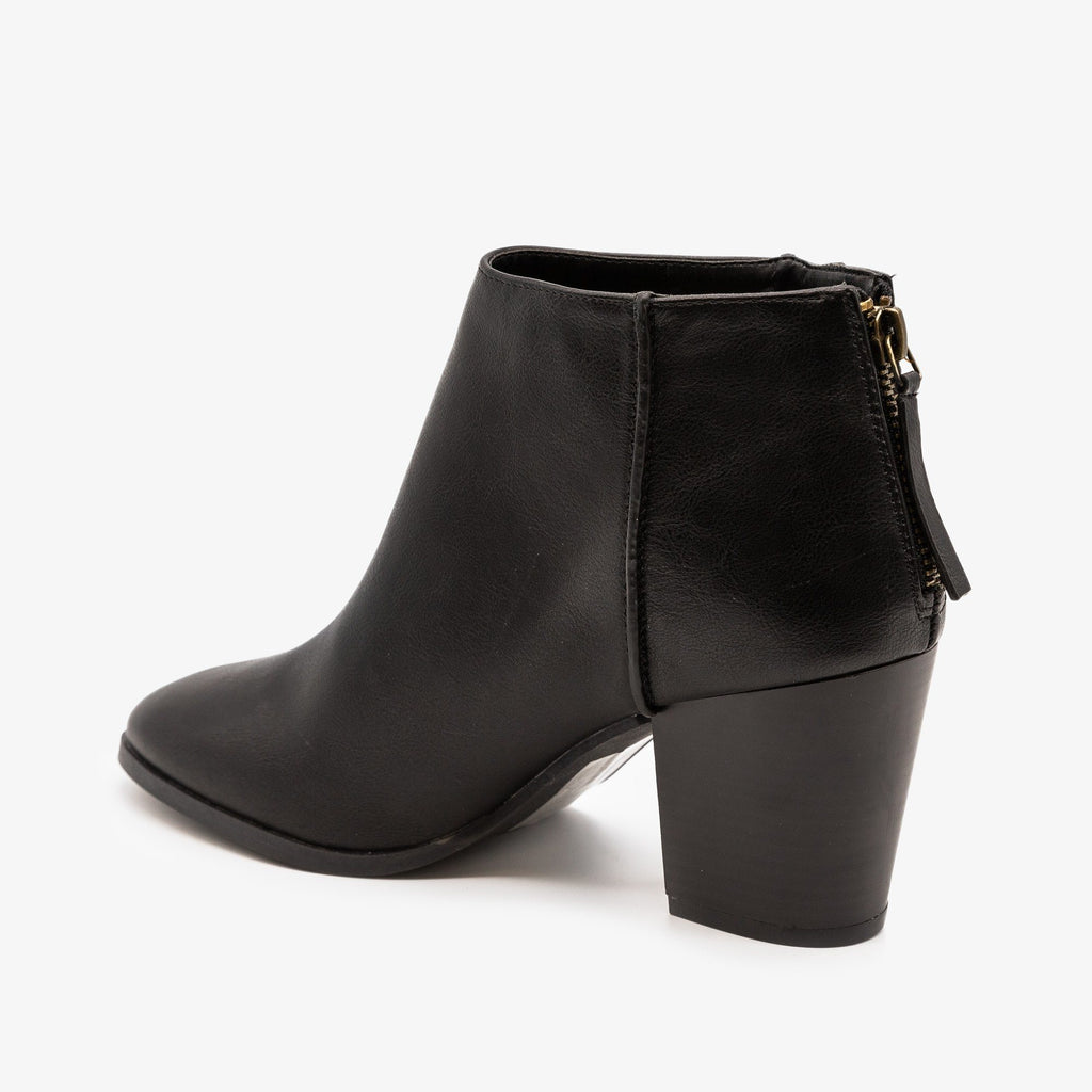 Womens Basic Zippered Booties - Qupid Shoes