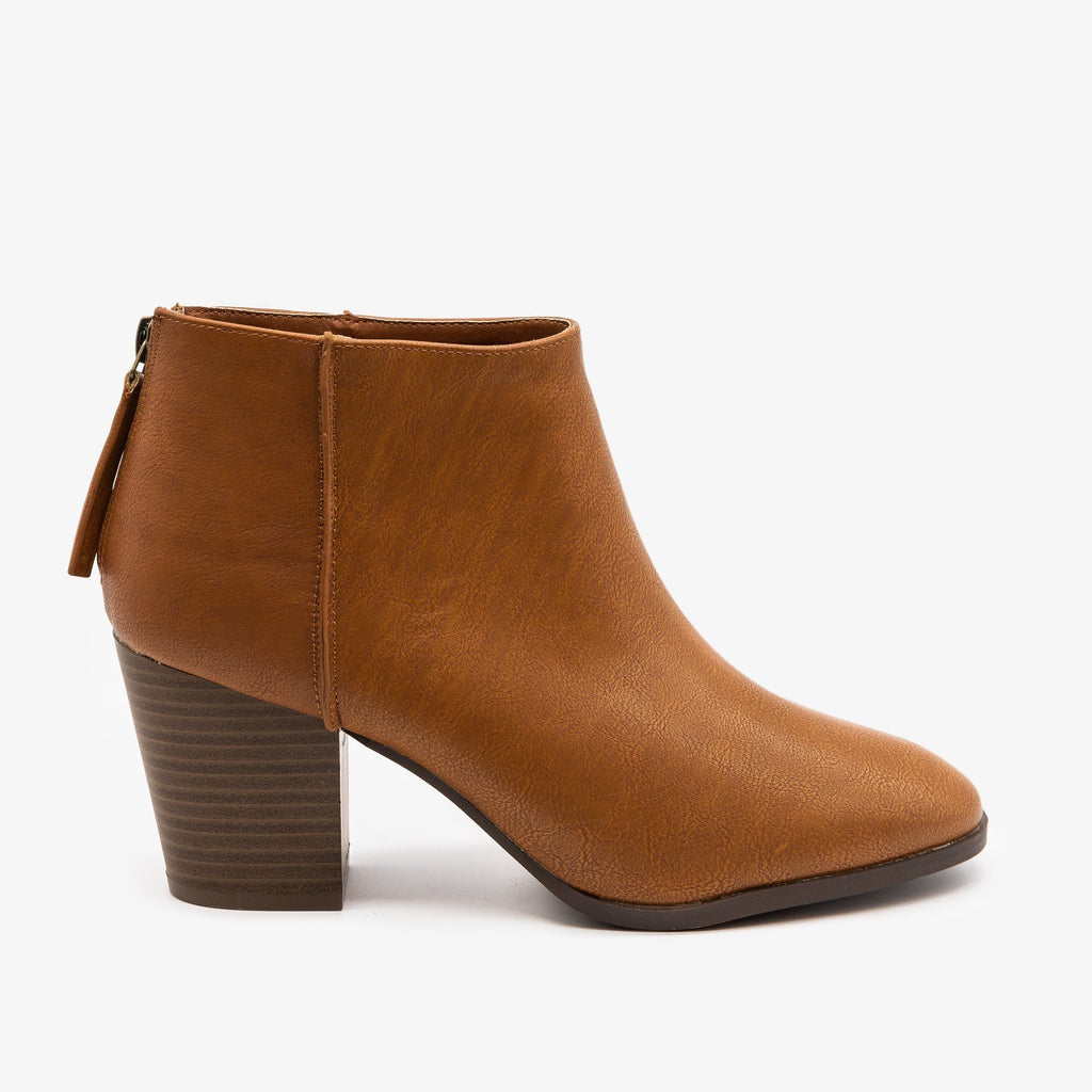 Womens Basic Zippered Booties - Qupid Shoes - Camel / 5