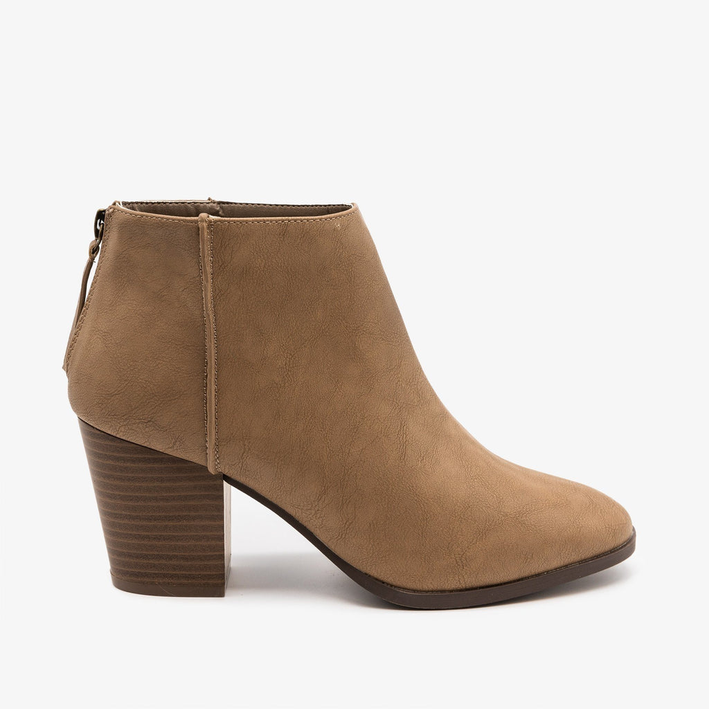 Womens Basic Zippered Booties - Qupid Shoes - Taupe / 5