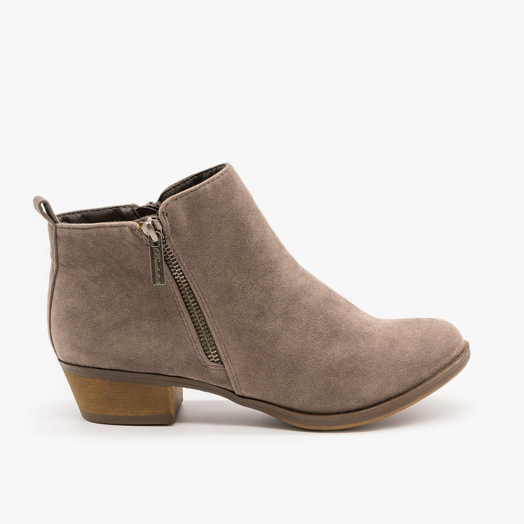 Womens Basic Zippered Boots - Breckelles - Gray / 5