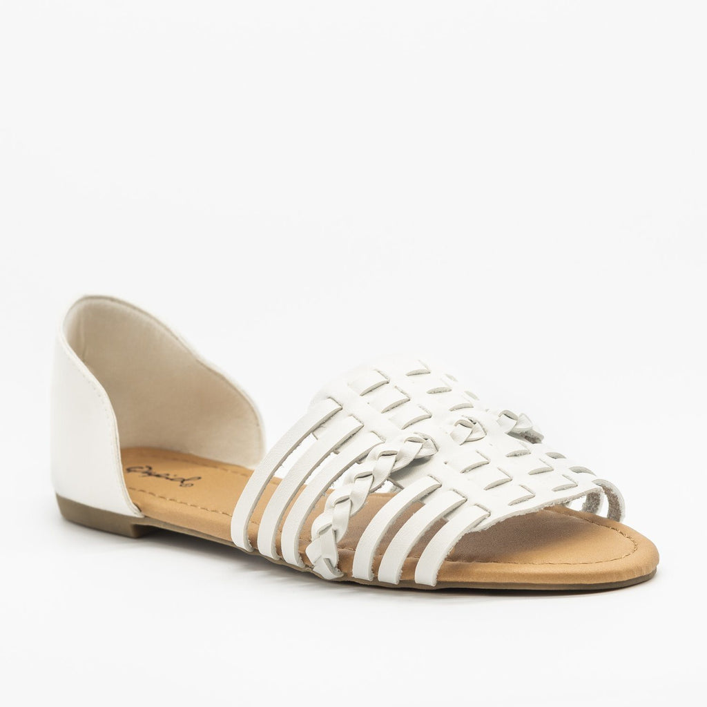 Womens Basket Weave Flats - Qupid Shoes - White / 5
