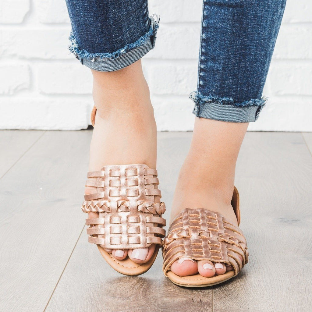 Womens Basket Weave Flats - Qupid Shoes - Rose Gold / 5