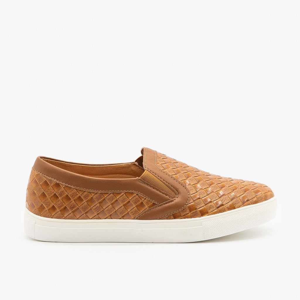 Womens Basket Weave Slip On Sneakers - Mata