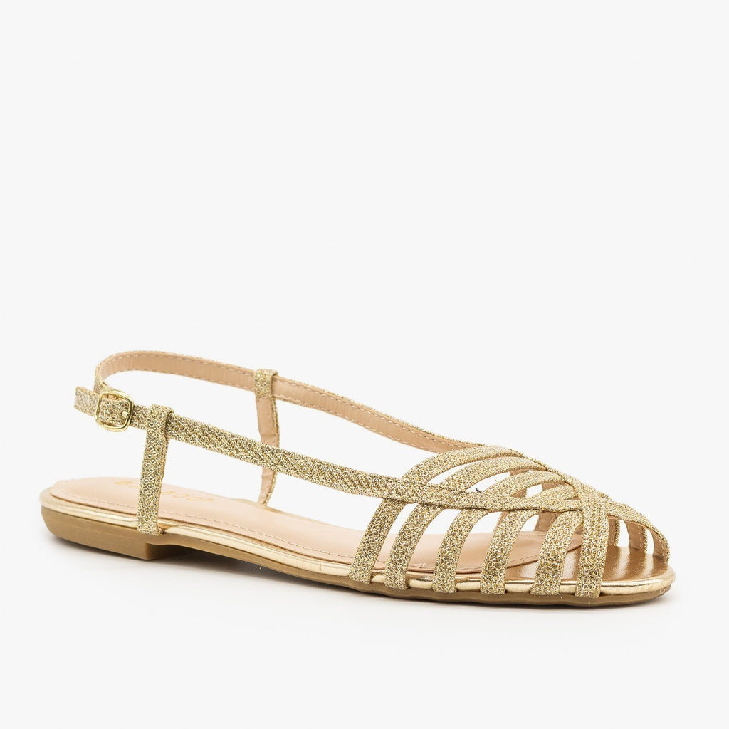 Womens Basket Woven Slingback Flats - Bamboo Shoes - Gold / 5