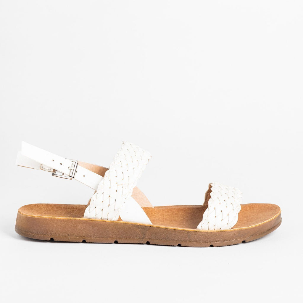 Womens Basketweave Comfort Sandals - Nature Breeze - White / 5