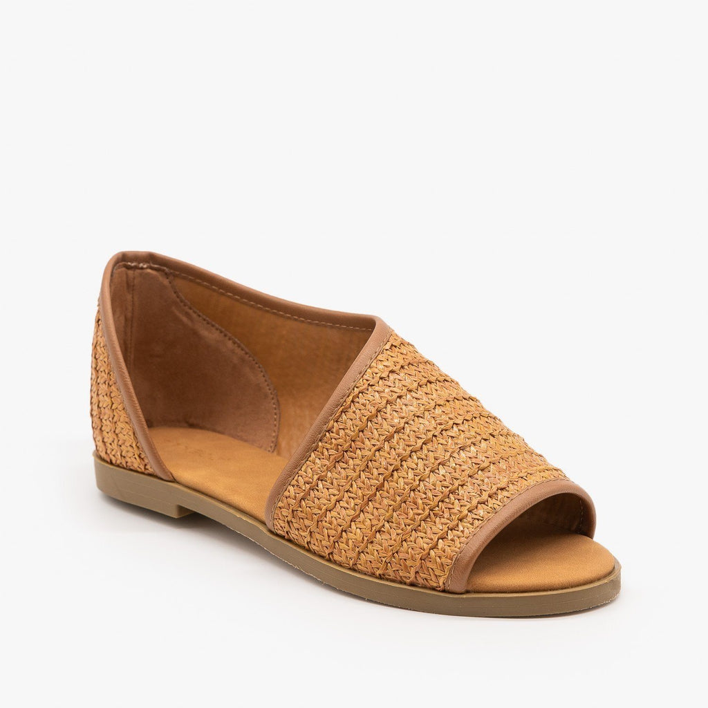 Womens Basketweave Cutout Peep Toe Flats - Bamboo Shoes - Tan / 5