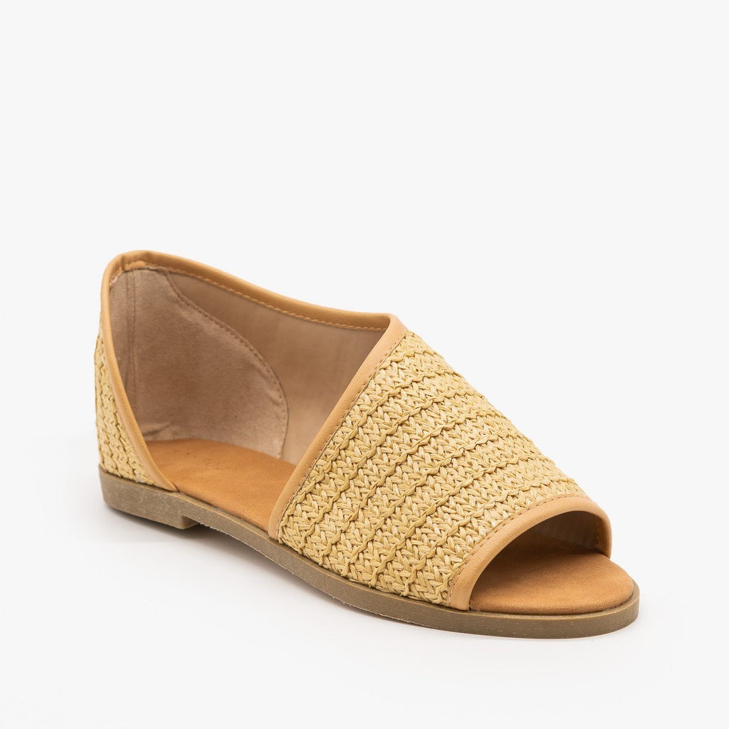 Womens Basketweave Cutout Peep Toe Flats - Bamboo Shoes - Natural / 5